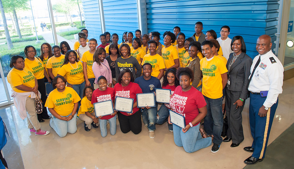 Members of the Worthing High School National Honor Society during the monthly meeting of the Houston ISD Board of Trustees' meeting, April 11, 2013.
