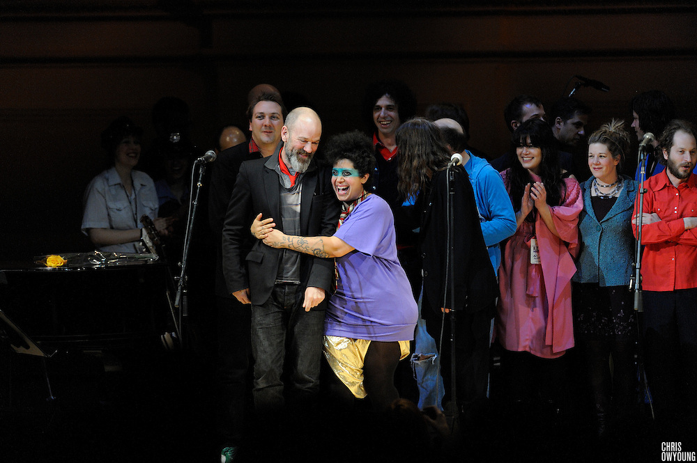 Michael Stipe, Kimya Dawson, Patti Smith, Elf Power, Rachel Yamagata and the rest of the artists performing at The Music of R.E.M. at Carnegie Hall, a tribute concert to benefit musical education programs for underprivileged youth, on stage for the curtain call.