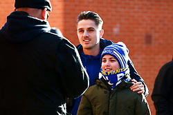 Tom Nichols of Bristol Rovers has his photo taken with a young Bristol Rovers fan - Mandatory by-line: Ryan Crockett/JMP - 18/01/2020 - FOOTBALL - Aesseal New York Stadium - Rotherham, England - Rotherham United v Bristol Rovers - Sky Bet League One
