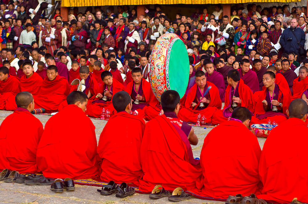 Monks at Shugdrel ceremony, Paro Teschu festival, Paro Dzong Monastery,  Paro Valley, Bhutan