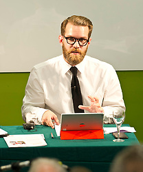 Pictured: Herald journalist David Torrance chaired the hustings<br /> <br /> Candidates from the five main parties will face questions from both a live audience and viewers at home via videolink and social media at an event organised by Stop Climate Chaos Scotland and chaired by journalist David Torrance. The panelists are Labour's Sarah Boyack, Mark Ruskell of the Greens, Ben MacPherson of the SNP, the Lib Dems' Ettie Spencer and Tory Jeremy Balfour<br /> <br /> Ger Harley | EEm 18 April 2016