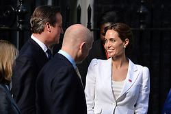 Image ©Licensed to i-Images Picture Agency. 10/06/2014.<br /> <br /> Angelina Jolie (right) meets the Prime Minister, David Cameron (left), and First Secretary of State, William Hague, at 10 Downing Street after attending the Global Summit to End Sexual Violence in Conflict at The ExCel, London, UK.<br /> <br /> Tuesday 10th of June 2014<br /> Picture by Ben Stevens / i-Images