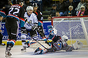 KELOWNA, CANADA - OCTOBER 26:  Michael Herringer #30 of the Kelowna Rockets makes a save at the Kelowna Rockets game on October 26, 2016 at Prospera Place in Kelowna, British Columbia, Canada.  (Photo By Cindy Rogers/Nyasa Photography,  *** Local Caption ***  Braydyn Chizen #22 of the Kelowna Rockets, Devante Stephens #21 of the Kelowna Rockets