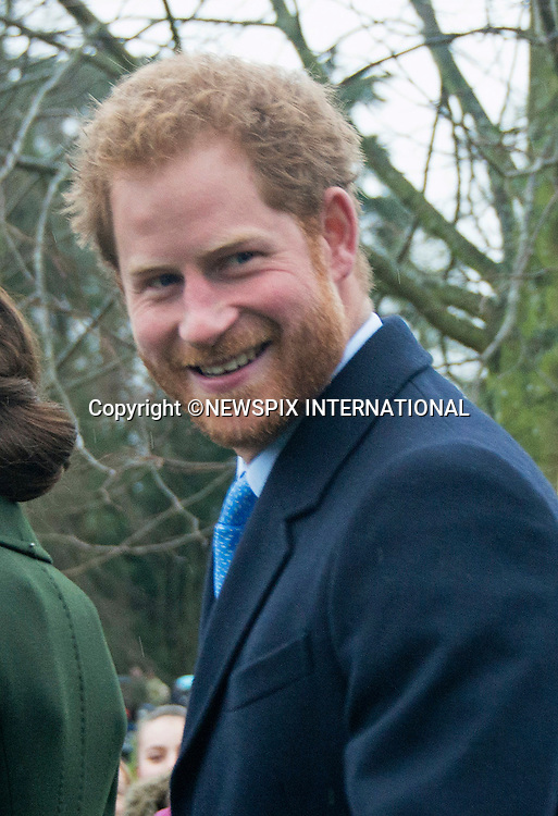 25.12.2015, Sandringham; UK: PRINCE HARRY<br /> joined other members of the Royal Family at the Christmas Day Church Service at St. Mary Magdalene's on the Sandringham Estate.<br /> Royals in attendance included the Queen, Prince Philip, Prince Charles, Camilla, Prince Andrew, Princesses Beatrice and Eugenie, Kate Middleton, Princes William and Harry, Princess Anne, Tim Laurence, Prince Edward, Sophie Wessex, The Linleys and The Chattos<br /> MANDATORY PHOTO CREDIT: &copy;AvantImage/NEWSPIX INTERNATIONAL<br /> <br /> (Failure to credit will incur a surcharge of 100% of reproduction fees)<br /> <br /> Newspix International, 31 Chinnery Hill, Bishop's Stortford, ENGLAND CM23 3PS<br /> Tel:+441279 324672<br /> Fax: +441279656877<br /> Mobile:  07775681153<br /> e-mail: info@newspixinternational.co.uk<br /> All Fees Payable To Newspix International