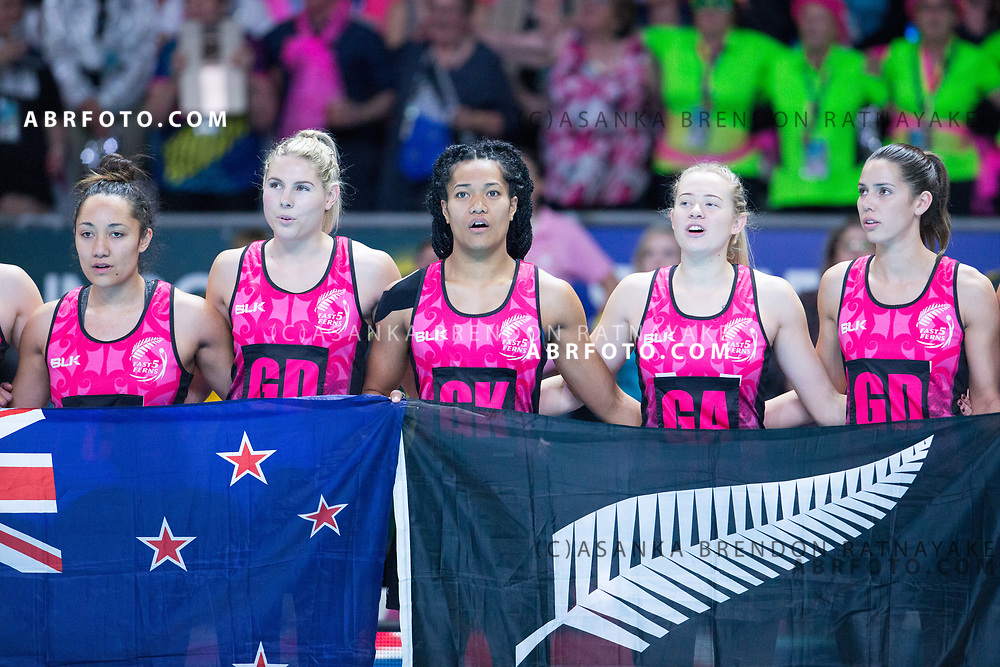New Zealand players with flags sing national anthem during the Fast5 Netball 3rd Vs 4th match between New Zealand Silver Ferns and Australia at Hisense Arena Melbourne Australia. Sunday 29th October 2017. Copyright Photo. Brendon Ratnayake / www.photosport.nz
