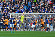 Wolverhampton Wanderers Emiliano Martínez takes a catch during the Sky Bet Championship match between Birmingham City and Wolverhampton Wanderers at St Andrews, Birmingham, England on 31 October 2015. Photo by Shane Healey.
