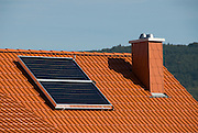 Solar collectors in a modern ecological house