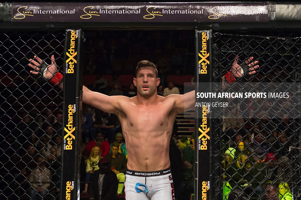 JOHANNESBURG, SOUTH AFRICA - MAY 13: Barend Nienaber enters the Hexagon during EFC 59 Fight Night at Carnival City on May 13, 2017 in Johannesburg, South Africa. (Photo by Anton Geyser/EFC Worldwide/Gallo Images)