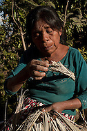 An indigenous woman weaves a palm hat. Under unemployment conditions, she sells every hat in 3 pesos (less than 0.3 USD) in the city of Tlapa, more than 60 km  (200 ft) distance on April 16th, 2010.    (Photo: Prometeo Lucero)