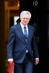 © Licensed to London News Pictures. 14/03/2017. London, UK. Secretary of State for Exiting the European Union DAVID DAVIS leaves Downing Street after a cabinet meeting on Tuesday, 14 March 2017. Photo credit: Tolga Akmen/LNP
