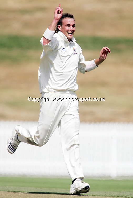 Northern Knights bowler Graeme Aldridge celebrates the wicket of Greg Todd bowled out for a duck during the State Championship cricket match between the Northern Knights and the Otago Volts at Seddon Park, Hamilton, New Zealand on Tuesday 6 March 2007. Photo: Hannah Johnston/PHOTOSPORT<br />