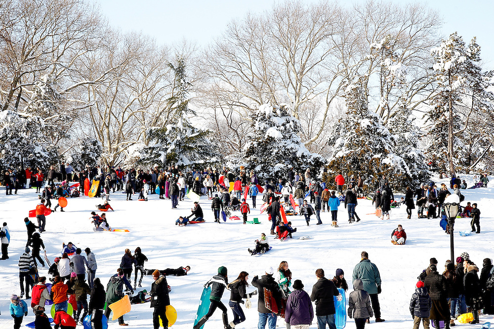 People snow sledding  in Central Park  on January 27, 2011 in New York City..Photo by Joe Kohen for The Wall Street Journal