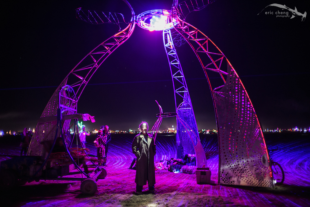 The builder of the Nexicon Portal poses with his creation. Burning Man 2014