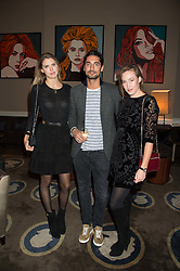 Left to right, SABRINA PERCY, HUGO TAYLOR and LADY TATIANA MOUNTBATTEN at the Tatler Little Black Book Party at Home House Member's Club, Portman Square, London supported by CARAT on 11th November 2015.