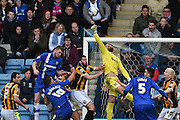 Port Vale goalkeeper Jak Alnwick clears a goal mouth scramble during the Sky Bet League 1 match between Gillingham and Port Vale at the MEMS Priestfield Stadium, Gillingham, England on 16 April 2016. Photo by Martin Cole.