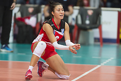 December 12, 2017 - Busto Arsizio, Varese, Italy - Milica Ivkovic (#8 ZOK Bimal-Jedinstvo Brcko) during the Women's CEV Cup match between Yamamay e-work Busto Arsizio and ZOK Bimal-Jedinstvo Brcko at PalaYamamay in Busto Arsizio, Italy, on 12 December 2017. Italian Yamamay e-work Busto Arsizio team defeats 3-0 Bosnian ZOK Bimal-Jedinstvo Brcko. (Credit Image: © Roberto Finizio/NurPhoto via ZUMA Press)