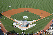 LOS ANGELES, CA - AUGUST 07:  General view of the infield from overhead during batting practice before the Los Angeles Dodgers game against the Colorado Rockies on Tuesday, August 7, 2012 at Dodger Stadium in Los Angeles, California. The Rockies won the game 3-1. (Photo by Paul Spinelli/MLB Photos via Getty Images)