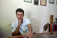Pablo Fajardo, strong lawyer who won the case against Chevron Texaco, in his study of Lago Agrio