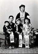 family portrait for Shichi Go San or 3, 5, 7, years celebration Japan 1950s