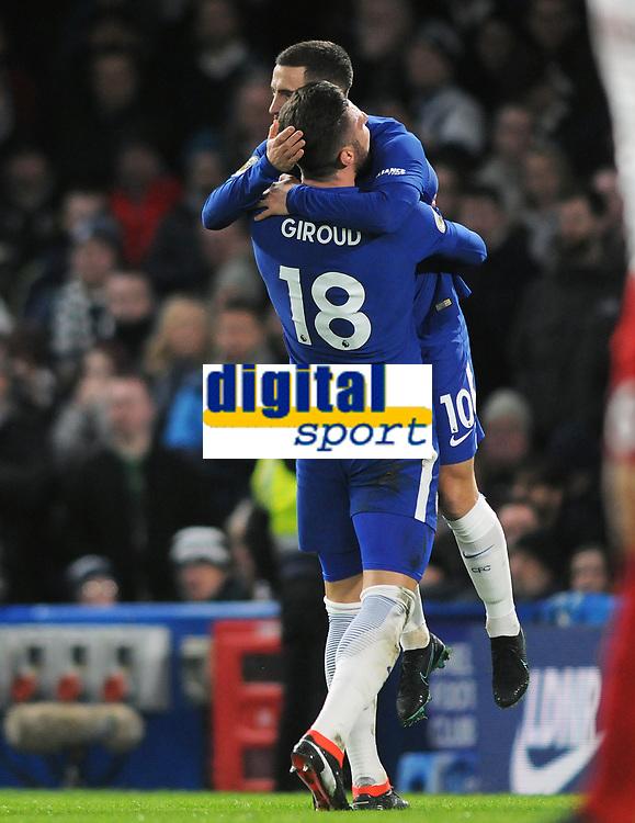 Football - 2017 / 2018 Premier League - Chelsea vs. West Bromwich Albion<br /> <br /> Olivier Giroud of Chelsea celebrates with goalscorer Eden Hazard at Stamford Bridge.<br /> <br /> COLORSPORT/ANDREW COWIE