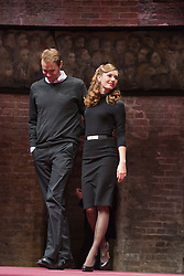 © Licensed to London News Pictures. 08/09/2014. London, England. Oliver Chris as William and Lydia Wilson as Kate. King Charles III, a play in blank verse by Mike Bartlett and directed by Rupert Goold has now transferred from the Almeida to Wyndham's Theatre, London. With Tim Pigott-Smith as Charles. Photo credit: Bettina Strenske/LNP