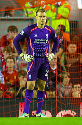 27.08.2013, Anfield, Liverpool, ENG, League Cup, FC Liverpool vs Notts County FC, 2. Runde, im Bild Liverpool's goalkeeper Simon Mignolet looks dejected as his side throw away a two goal lead during the Football League Cup 2nd Round match during the English League Cup 2nd round match between Liverpool FC and Notts County FC, at Anfield, Liverpool, Great Britain on 2013/08/27. EXPA Pictures © 2013, PhotoCredit: EXPA/ Propagandaphoto/ David Rawcliffe<br /> <br /> ***** ATTENTION - OUT OF ENG, GBR, UK *****