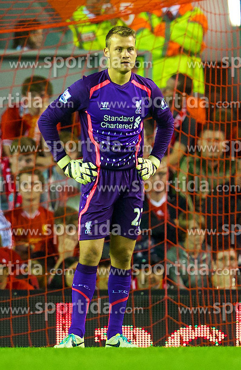 27.08.2013, Anfield, Liverpool, ENG, League Cup, FC Liverpool vs Notts County FC, 2. Runde, im Bild Liverpool's goalkeeper Simon Mignolet looks dejected as his side throw away a two goal lead during the Football League Cup 2nd Round match during the English League Cup 2nd round match between Liverpool FC and Notts County FC, at Anfield, Liverpool, Great Britain on 2013/08/27. EXPA Pictures &copy; 2013, PhotoCredit: EXPA/ Propagandaphoto/ David Rawcliffe<br /> <br /> ***** ATTENTION - OUT OF ENG, GBR, UK *****