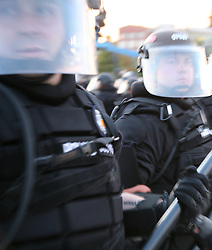 Police in riot gear outside the Pepsi Center, location of the 2008 Democratic National Convention, August 27, Denver, Colorado.