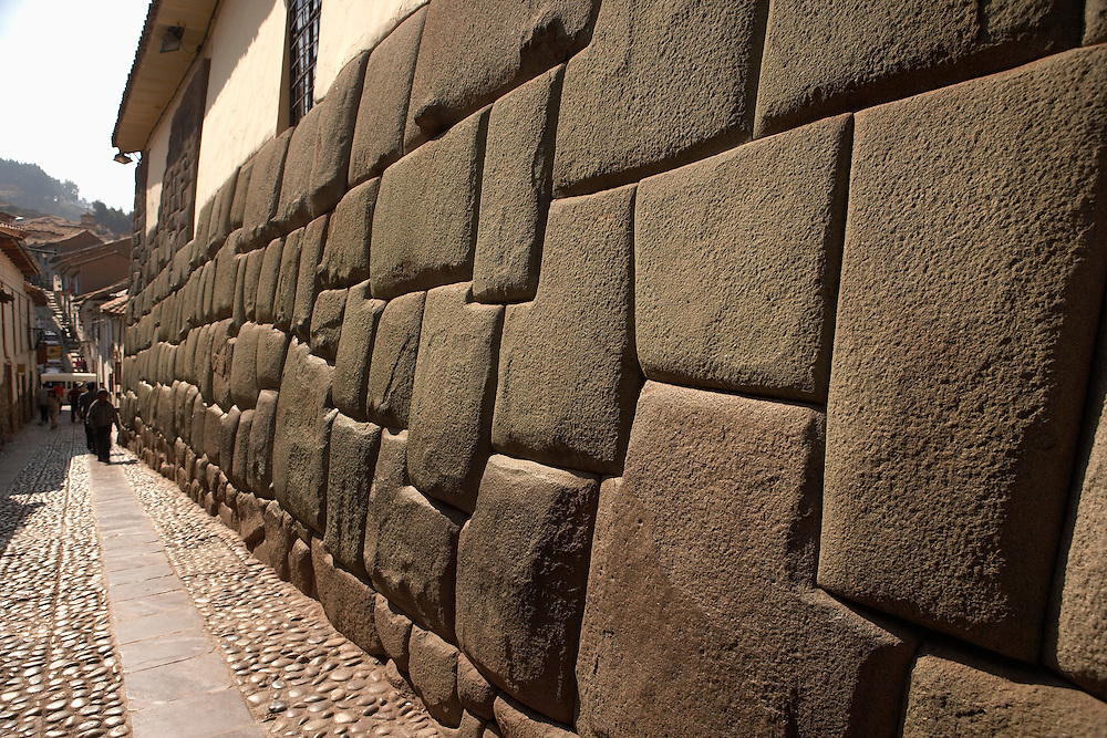 Angled cut stones make up Inca wall  Cusco, Peru