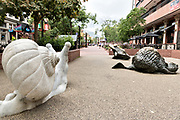 Quirky public art decorates the downtown historic shopping and restaurant district in Boulder, Colorado.