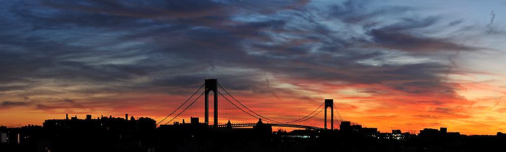 Verrazano Narrows Bridge after sunset.