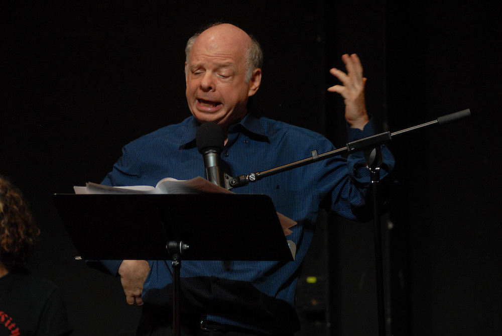 Photo shows Wallace Shawn..An evening of readings with Peter Carey Booker Prize novelist at at The Performing Garage. 33 Wooster Street, Manhattan.Readings were performed by Wallace Shawn, Scott Shepherd, Maura Tierney, and students from Still Waters in a Storm. Selections from Mr. Carey's work were read, including a preview of his new novel..Hosted by Kate Valk of The Wooster Group and Frances Coady, publisher of Picador U.S.A. All proceeds benefited 'Still Waters in a Storm' A reading and writing sanctuary for children in Bushwick, Brooklyn.