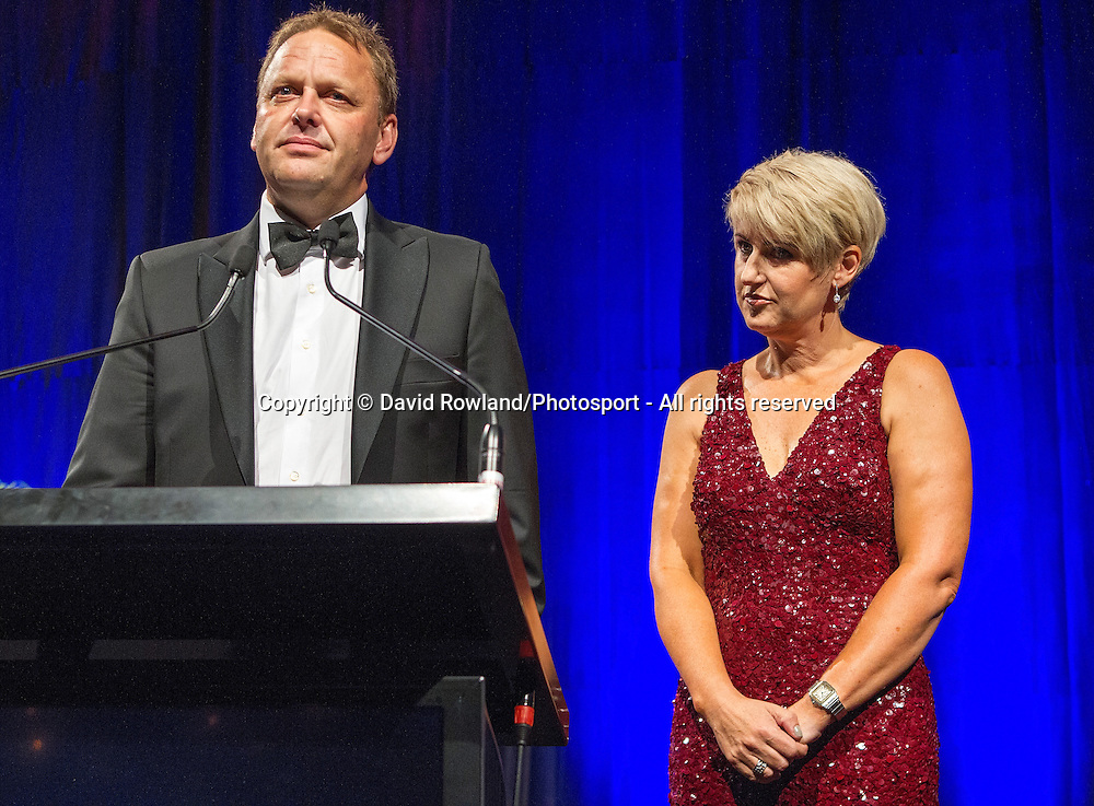 Skycity Breakers owners Paul and Liz Blackwell speak at the Skycity Breakers Awards, 2013-14, Skycity Convention Centre, Auckland, New Zealand, Friday, March 28, 2014. Photo: David Rowland/Photosport