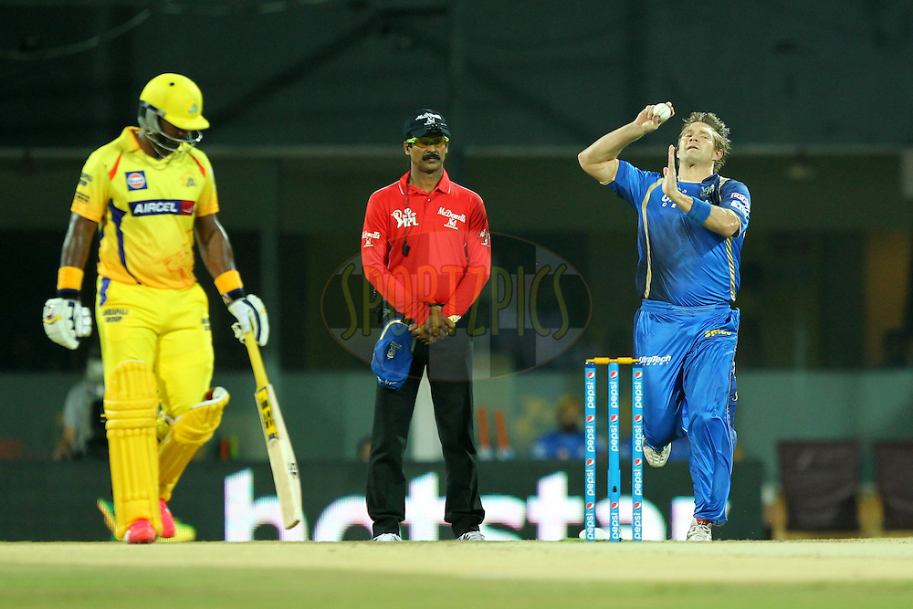 Shane Watson of Rajasthan Royals bowls during match 47 of the Pepsi IPL 2015 (Indian Premier League) between The Chennai Superkings and The Rajasthan Royals held at the M. A. Chidambaram Stadium, Chennai Stadium in Chennai, India on the 10th May 2015.Photo by:  Prashant Bhoot / SPORTZPICS / IPL
