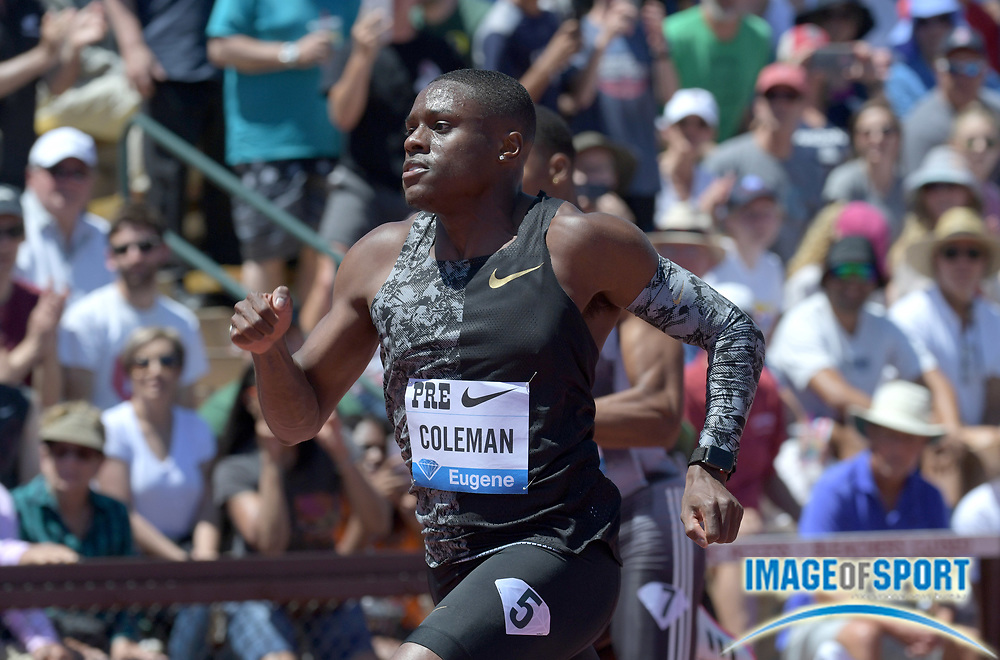 Jun 30, 2019; Stanford, CA, USA; Christian Coleman (USA) wins the 100m in 9.81  during the 45th Prefontaine Classic at Cobb Track & Angell Field.
