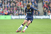 Greig Laidlaw takes conversion kick during the 6 Nations match between Scotland and Ireland at Murrayfield, Edinburgh, Scotland on 9 February 2019.
