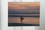 Photo magnet with Santa Monica sunset, surfer, Gabriel Garcia Marquez quote, pink sky, beach life, ocean, California, home art, fridge art, Los Angles, Southern CA.
