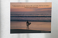 Photo magnet with Santa Monica sunset, surfer, Gabriel Garcia Marquez quote, pink sky, beach life, ocean, California, home art, fridge art, Los Angles, Southern CA.