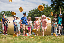 © Licensed to London News Pictures. 01/08/2018. York UK. The annual Yorkshire Pudding tossing competition is under way this afternoon at York Maze near York to celebrate Yorkshire Day. Photo credit: Andrew McCaren/LNP