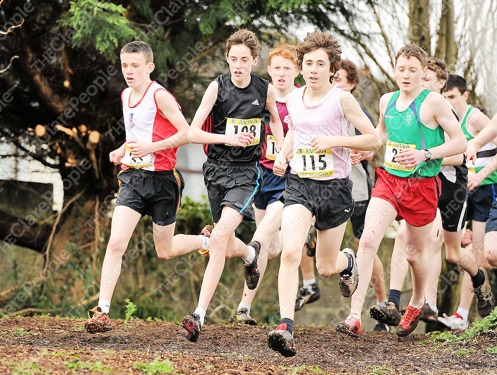 10 March 2012; Action from the Junior Boys race including, from left, Adam O'Brein, St. Aidan's, CBS, Dublin, Cathal Doyle, Colaiste Choilm, Swords, Dublin, Kevin Mulcaire, St. Flannans, Ennis, Co. Clare, and Glen Gaffney, Colaiste Mhuire, Mullingar, Co. Westmeath, at the Aviva All-Ireland Schools' Cross Country 2012. St Maryís College, Galway. Picture credit: Pat Murphy / SPORTSFILE *** NO REPRODUCTION FEE ***