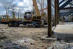 Signs of vandalism are show at the construction site of the Quaker Meeting House in Chestnut Hill.  ..On multiple spots at the construction site  signs of damage are visible on the steel columns of the structure.