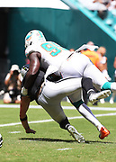 Sep 23, 2018; Miami Gardens, FL, USA; Miami Dolphins defensive end William Hayes (95) sacks Oakland Raiders quarterback Derek Carr (4) at Hard Rock Stadium. The Dolphins defeated the Raiders 28-20. (Steve Jacobson/Image of Sport)