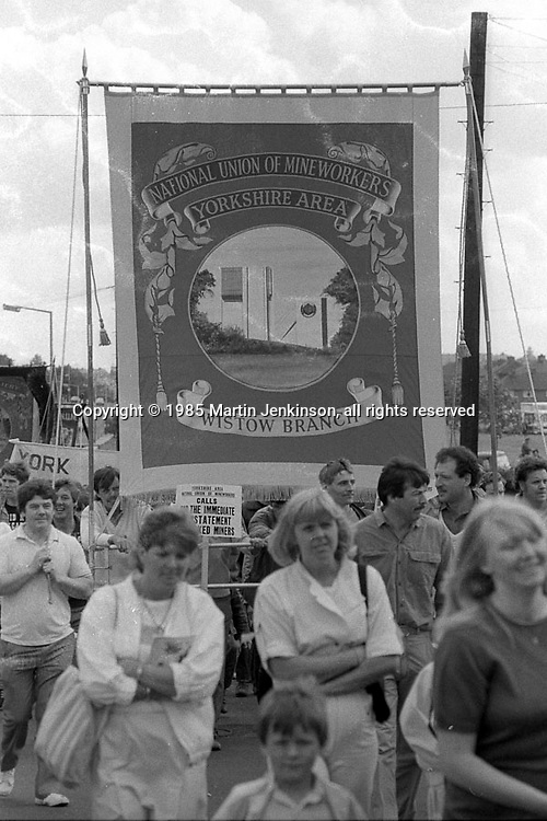 Wistow banner, 1985 Yorkshire Miner's Gala. Rotherham.