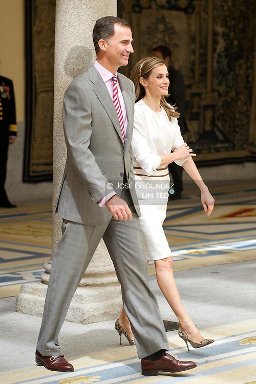 King Felipe VI of Spain and Queen Letizia of Spain during the recepcion of 'Ruta Quetzal BBVA 2014' at Palacio de El Pardo on July 21, 2014 in Madrid.