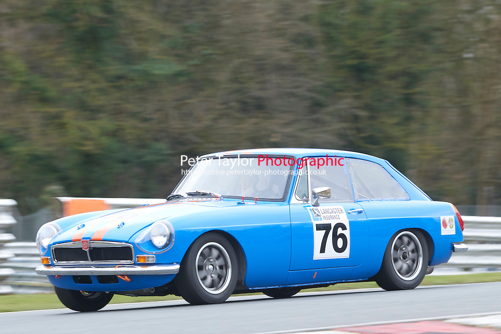 #76 Neil HOWE MG B GT 1800 during Lancaster Insurance MG Owners Club Championship as part of the BARC NW - Championship Raceday  at Oulton Park, Little Budworth, Cheshire, United Kingdom. March 19 2016. World Copyright Peter Taylor/PSP. Copy of publication required for printed pictures.  Every used picture is fee-liable. http://archive.petertaylor-photographic.co.uk