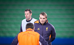 05.12.2012, Stadio Friuli, Udine, ITA, UEFA EL, Udinese Calcio vs FC Liverpool, Gruppe A, Training, FC Liverpool, im Bild  Jamie Carragher (# 23, Liverpool FC),Brendan Rodgers (Trainer, Liverpool FC) // Jamie Carragher (# 23, Liverpool FC), Brendan Rodgers (Trainer, Liverpool FC) during Training of Liverpool FC before the UEFA Europa League group A match between Udinese Calcio and Liverpool .FC at the Stadio Friuli, Udinese, Italy on 2012/12/05. EXPA Pictures © 2012, PhotoCredit: EXPA/ Juergen Feichter