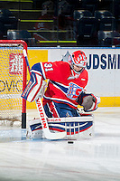 KELOWNA, CANADA - MARCH 7: Tyson Verhelst #31 of Spokane Chiefs warms up against the Kelowna Rocketson March 7, 2015 at Prospera Place in Kelowna, British Columbia, Canada.  (Photo by Marissa Baecker/Shoot the Breeze)  *** Local Caption *** Tyson Verhelst;