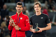 Andy Murray (right) and Novak Djokovic during the final of the Madrid Open at Manzanares Park Tennis Centre, Madrid<br /> Picture by EXPA Pictures/Focus Images Ltd 07814482222<br /> 08/05/2016<br /> ***UK &amp; IRELAND ONLY***<br /> EXPA-ESP-160509-0108.jpg