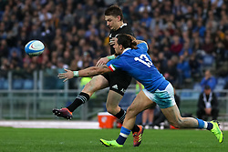 November 24, 2018 - Rome, Rome, Italy - Beauden Barrett and Michele Campagnaro during the Test Match 2018 between Italy and New Zealand at Stadio Olimpico on November 24, 2018 in Rome, Italy. (Credit Image: © Emmanuele Ciancaglini/NurPhoto via ZUMA Press)