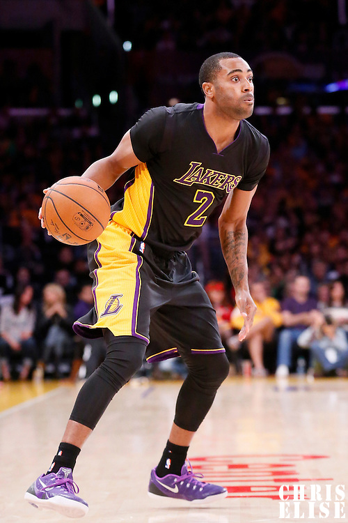 31 October 2014: Los Angeles Lakers guard Wayne Ellington (2) dribbles during the Los Angeles Clippers 118-111 victory over the Los Angeles Lakers, at the Staples Center, Los Angeles, California, USA.